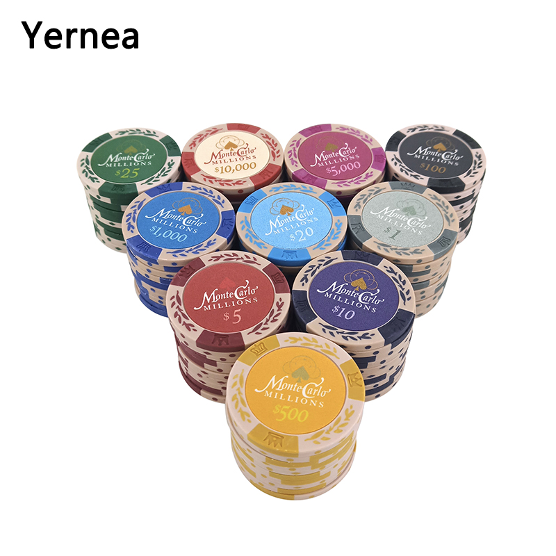 Yernea 25PCS/Lot Dollar Wheat Film Clay Poker Chips Coins Baccarat Texas Holdem Color Crown Clay Poker Playing Chips 14g