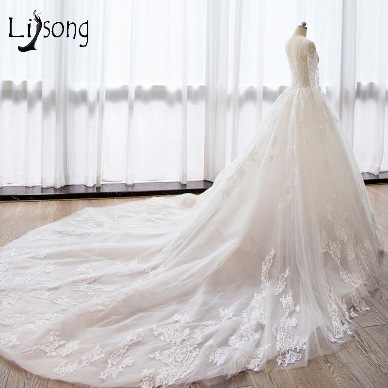 Lace Wedding Dresses 2018 Illusion Full Sleeves Liques A Line Bridal Gowns Long Tail Custom Made Robe De Mariee December 2019