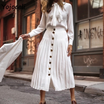 Yojoceli 2018 elegant white pleated skirt bottom women streetwear button fornt midi skirt female party club skirt белая рубашка с объемными рукавами и вырезом