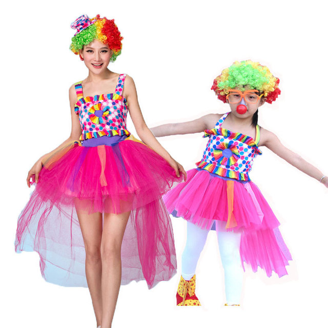 6f8532009 Umorden Halloween Carnival Party Mom and Girls Kids Circus Clown Costume  Mother and Daughter Family Matching Cosplay Costume