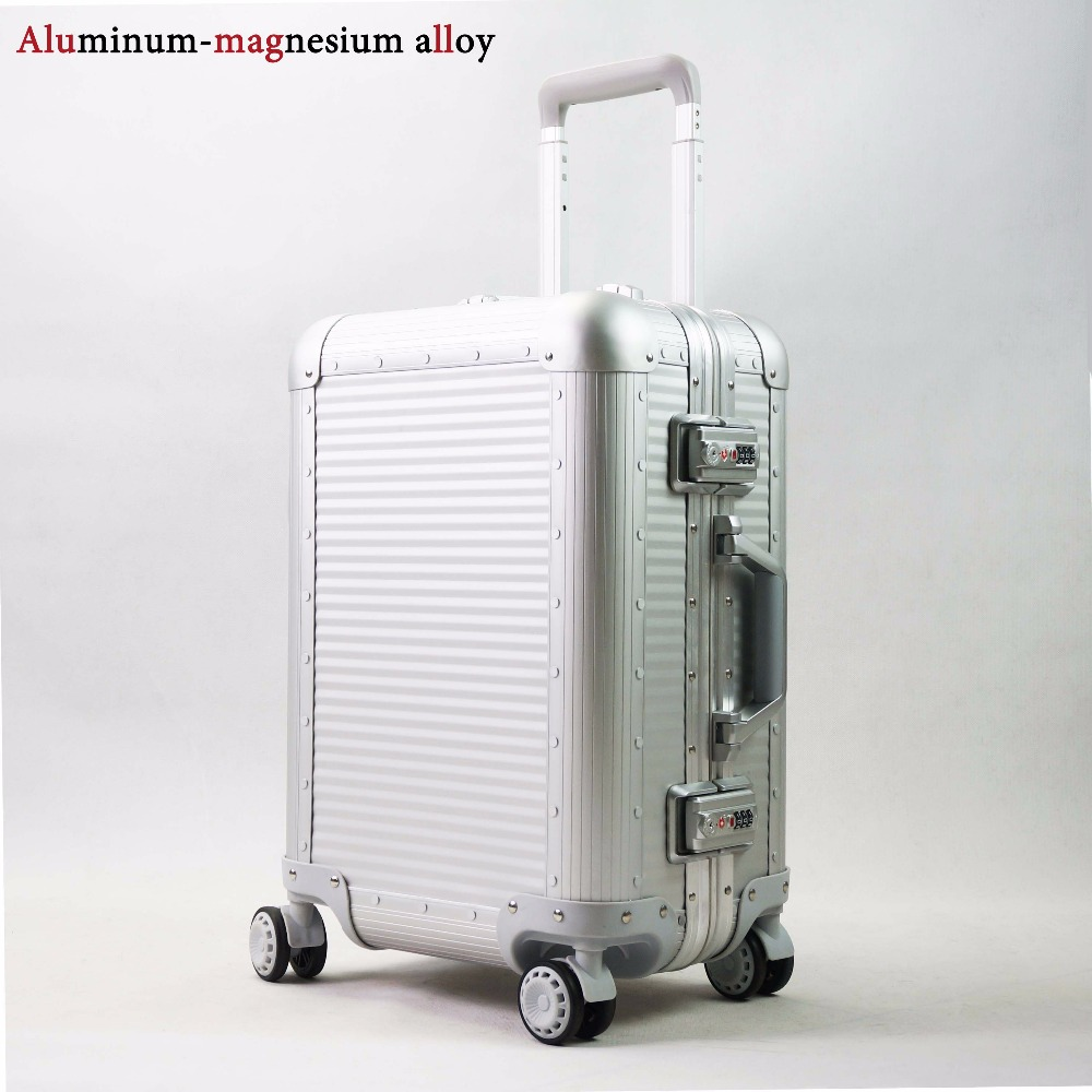 цена на 20''24''Full Aluminum Luggage Travel Trolley Suitcase Metal Hardside Rolling Luggage Suitcase Carry on Luggage Boarding Case