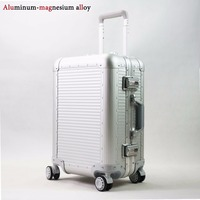20''24''Full Aluminum Luggage Travel Trolley Suitcase Metal Hardside Rolling Luggage Suitcase Carry on Luggage Boarding Case