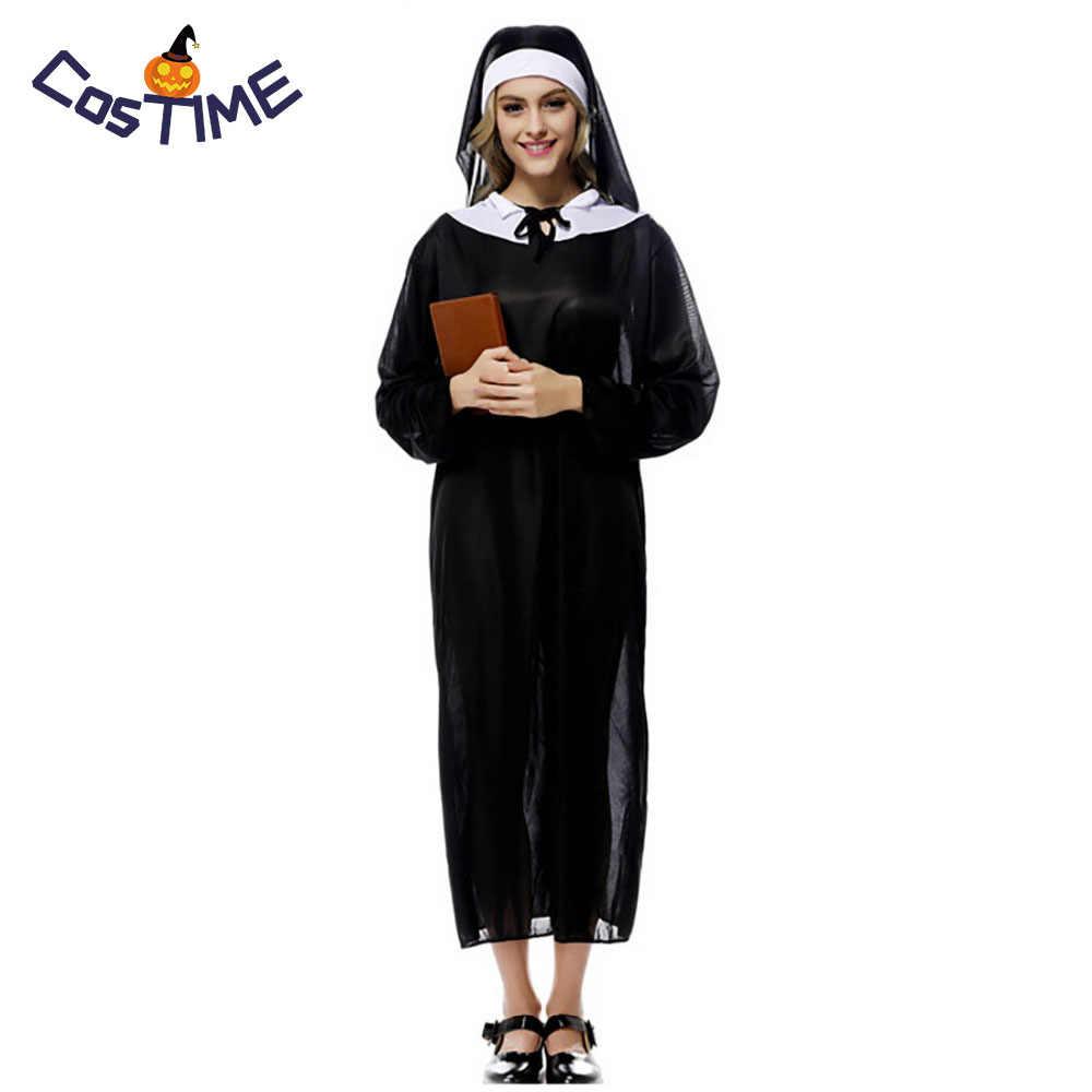 Virgen María Disfraz De Monja Vestal Traje Intelectual Chica Negro Adulto Vestido De Monja De Disfraces De Halloween Para Las Mujeres