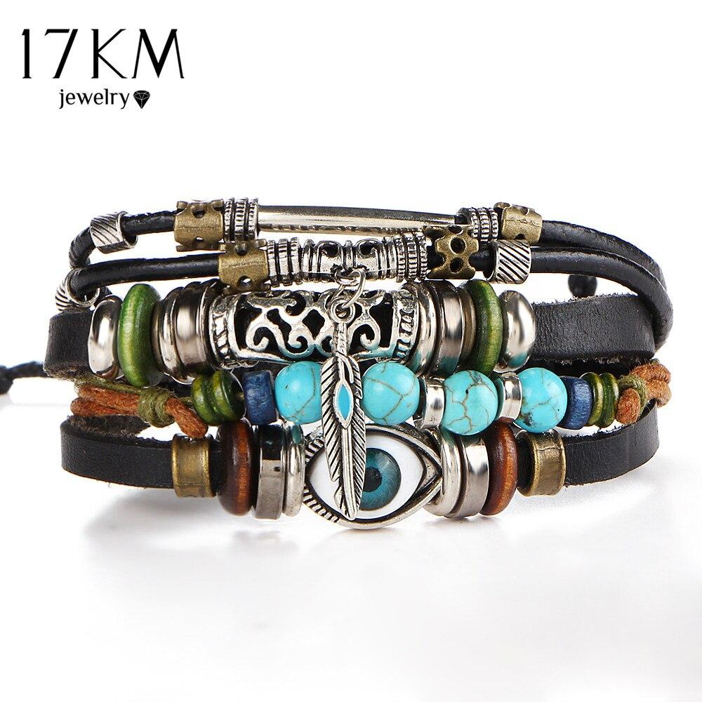 17 km Punk Ontwerp Turkse Eye Armbanden Voor Mannen Vrouw Nieuwe Mode Polsbandje Vrouwelijke Uil Lederen Armband Steen Vintage Sieraden