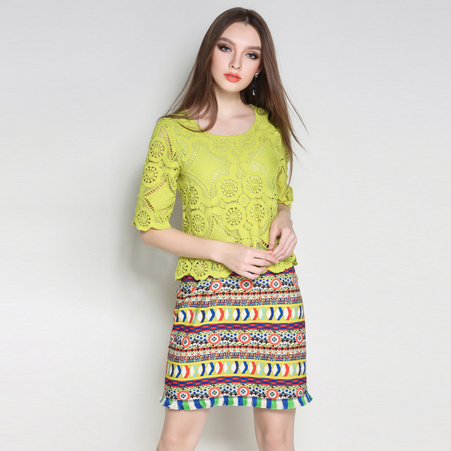 Women Ethical Green Lace Dress Pieced Tribe Pattern Printed Fringe
