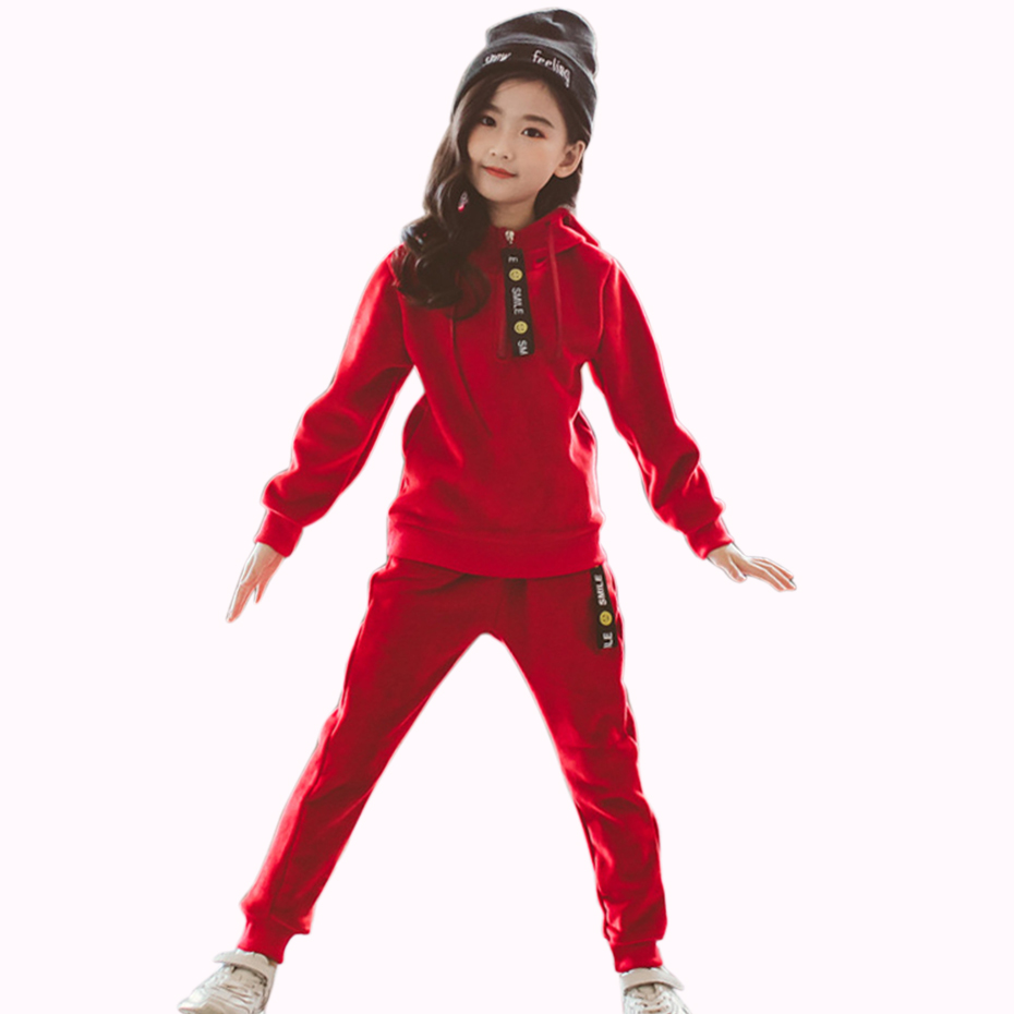 Sports Girls Clothes Suit Autumn Clothing For Teens Spring Child Girl Clothing 4 6 8 12 Year Velvet Kids Set Hoodies+Pants 2 Pcs girl
