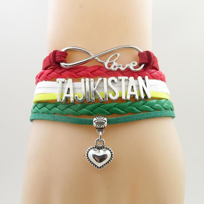 infinity love TAJIKISTAN bracelet handmade charm tajikistan leather bracelets & bangles for women jewelry пандора браслет с шармами