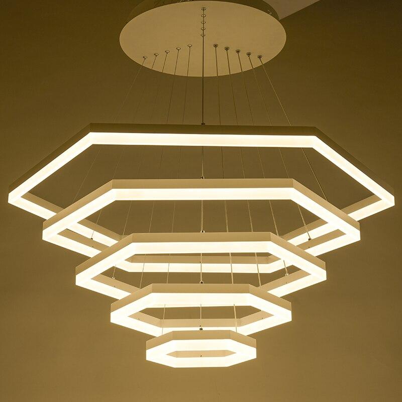 Modern pendant lights for living room dining room 4/3/2/1 Rings acrylic aluminum body LED Lighting ceiling Lamp Led fixtures