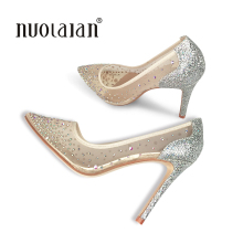 2018 Brand fashion women pumps crystal high heel shoes for women sexy pointe toe high heels party wedding shoes woman