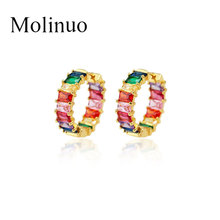 Molinuo good quality Inlaid colorful cz bar skinny rainbow earrings fashion charming hoop women Diameter 22.5mm