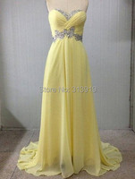 free shipping real pictures yellow chiffon beading sweetheart prom dresses 2017 new style hot sale