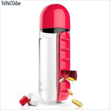 600ml Sports Plastic Water Bottle Combine Daily Pill Boxes Organizer Drinking Bottles Leak-Proof
