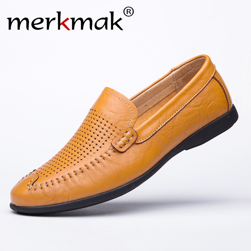 Summer Casual Shoes Men Genuine Leather Loafers Mocassin Homme Flats Men Comfortable Breathable Light Big Size Driving Shoes diy hand stitched black red genuine leather car steering wheel cover for honda new fit city jazz 2014 2015 hrv hr v 2016