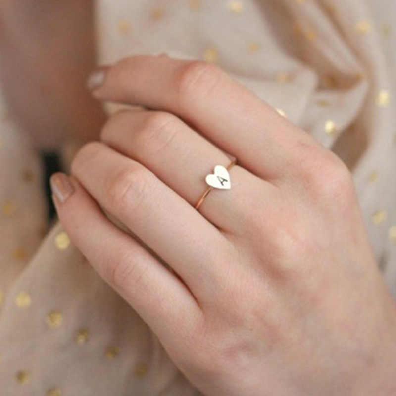ขายร้อนง่ายDiyตัวอักษรแหวนปรับหมั้นแหวนประณีตเครื่องประดับงานแต่งงานอุปกรณ์เสริมหญิงของขวัญ