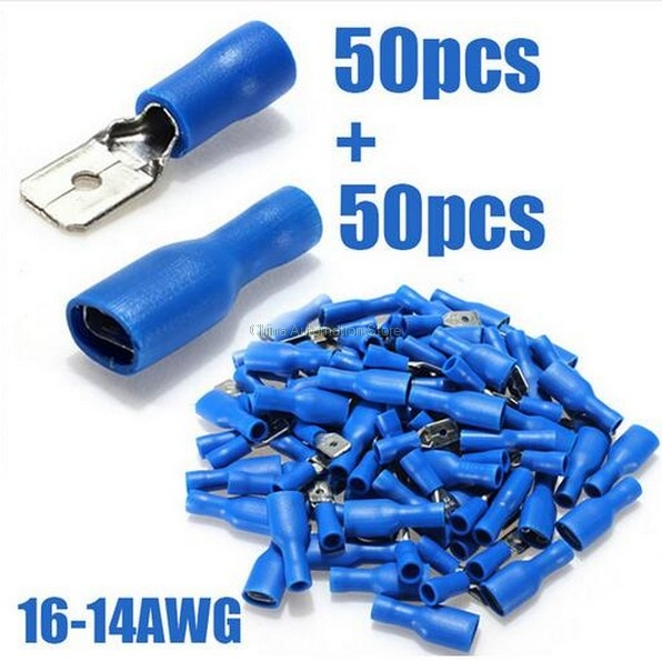 FDFD2-250 BLUE 16-14AWG Insulated Spade Crimp Wire Cable Connector Terminal Male/Female Kit 100PCS 50pair