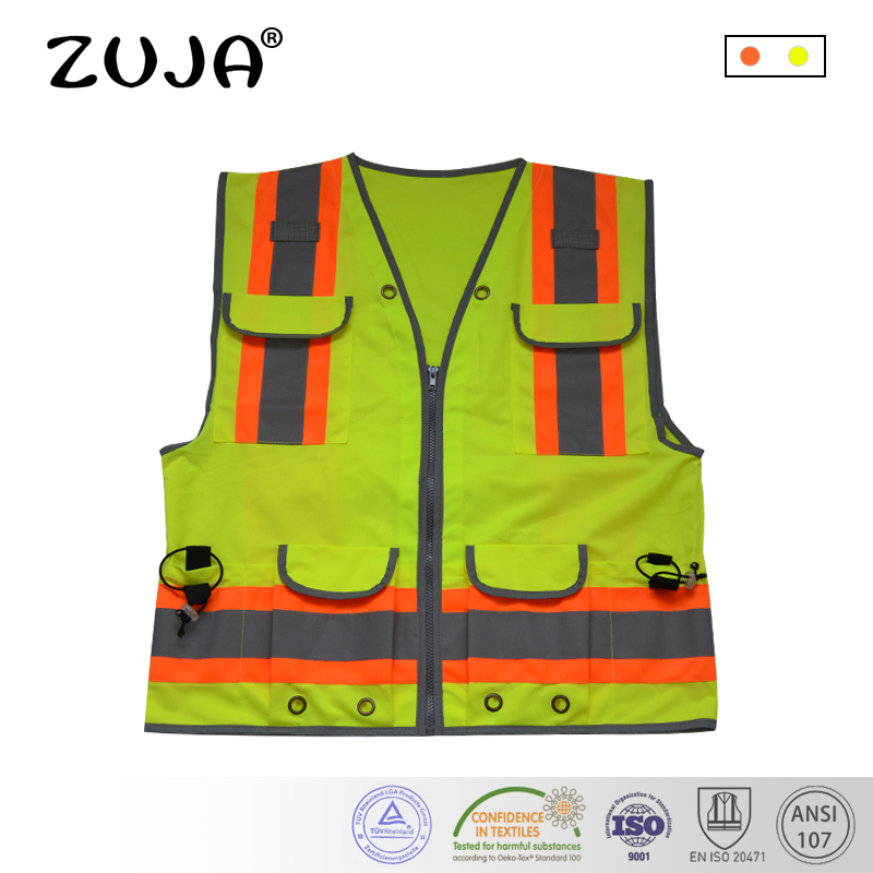 Good Quality High Visibility Reflective Waring Safety Vest Multi-Pockets high quality mesh safety vest with pockets for women man