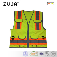Good Quality High Visibility Reflective Waring Safety Vest Multi Pockets