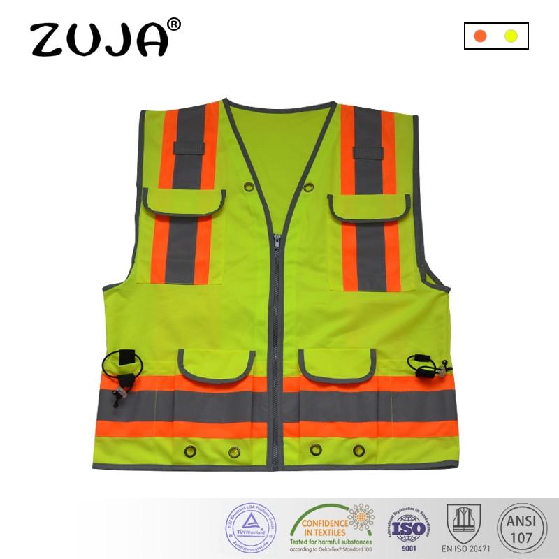 Gute Qualität Hohe Sichtbarkeit Reflektierende Waring Sicherheit Weste Multi-Taschen