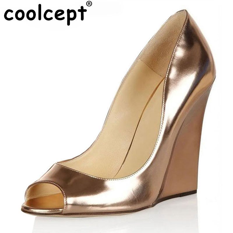 Coolcept Women Shoes New Open Toe Head Fashion High Heels Ladies Wedge Sandals Platform Brand Shoes Women Pumps Size 35-46 B001 real image green women sandal with platform wedge high heels open toe ankle strap comfortable shoes ladies new true to us size