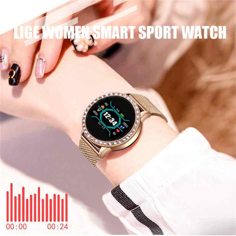Ini Wanita Smart Watch Full Screen Berlian Smartwatch Sport Tahan Air Monitor Detak Jantung Tekanan Darah Kebugaran Tracker N58