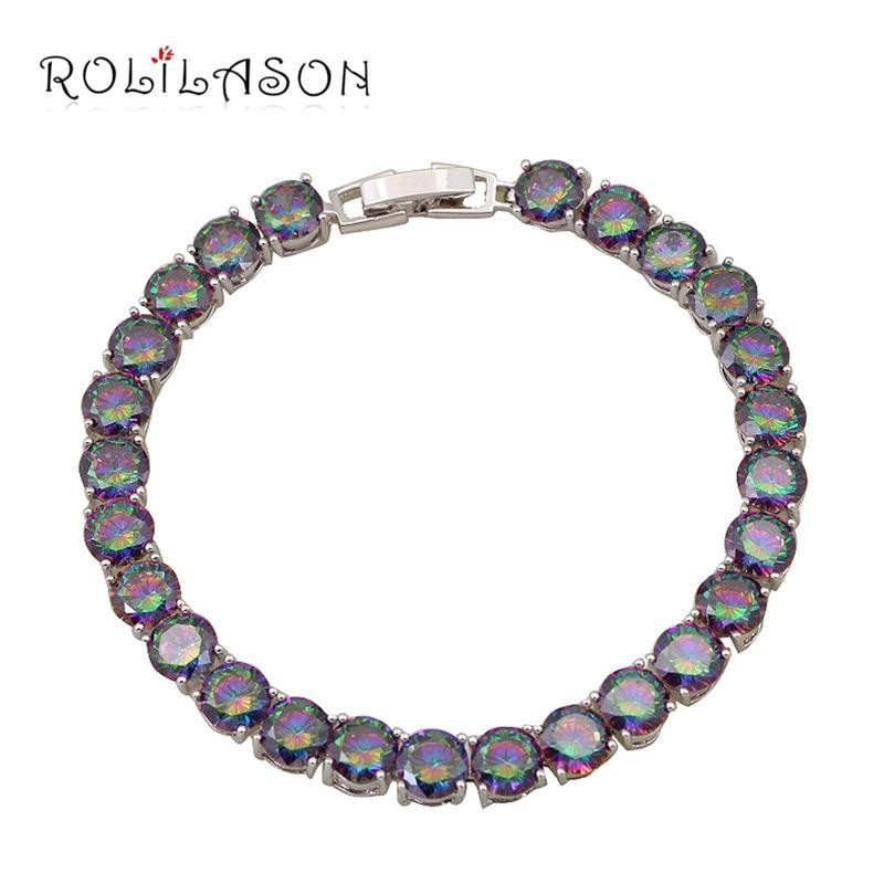 ROLILASON Perfeito Presentes de Aniversário para Amigos TB878 Místico Multicolor Zircon Charme Pulseiras Moda jóias de Prata