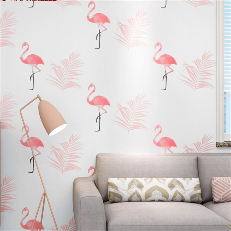цена на beibehang Nordic style flamingo wallpaper ins net red live personality wall paper creative women's clothing store girl wallpaper