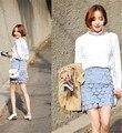 Faldas para mujer 2016 de corea del verano vestido más el tamaño de la vendimia saia feminina paquete cadera delgada azul con falda de encaje de cintura alta A0467