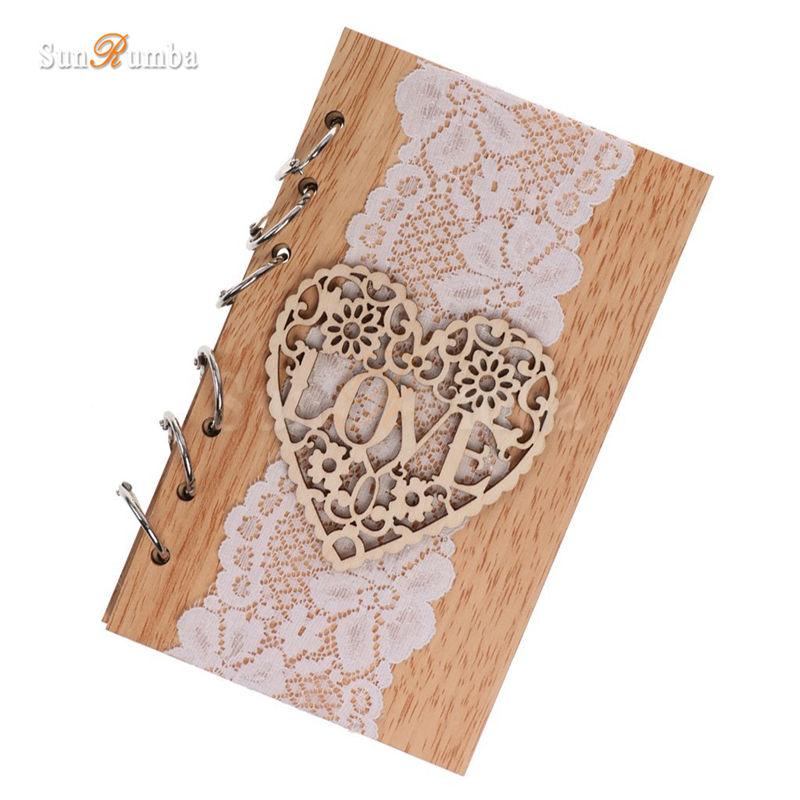 1pcs Rustic Wedding Decor Guest Books Wedding Decoration Festive Event Party Supplies Wood Love Blank Signature Guest Books
