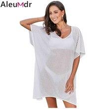 e04f7eab4950f Aleumdr 2019 Women Swimwear Cover-Up Summer White Fishnet See-through Beach  Dress Tunic Shirt Vestido Bikin Pareo Praia LC420091