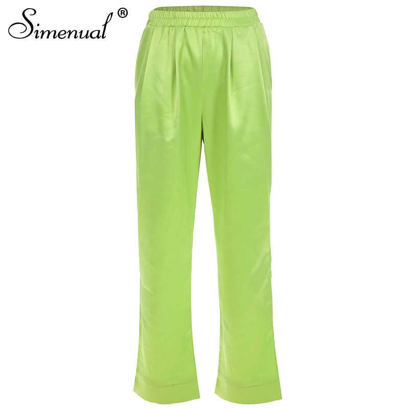Simenual однотонные зеленые брюки с высокой талией женские повседневные уличные атласные длинные брюки тонкие базовые модные 2019 прямые брюки