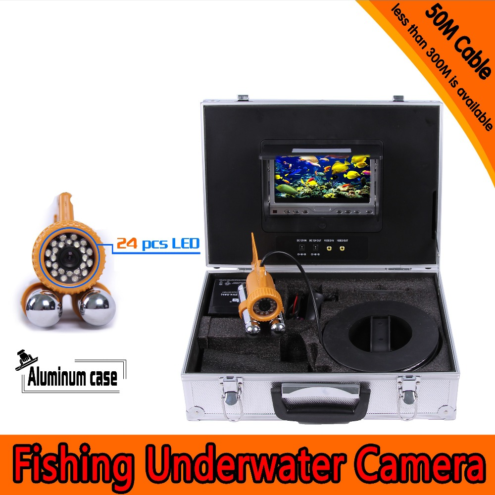 (1 set)50M Cable Waterproof Fish Finder 24 white LED Underwater Camera 7 inch TFT-LCD Color Display Night Vision Fishing camera 1 set 50m cable 360 degree rotative camera with 7inch tft lcd display and hd 1000 tvl line underwater fishing camera system