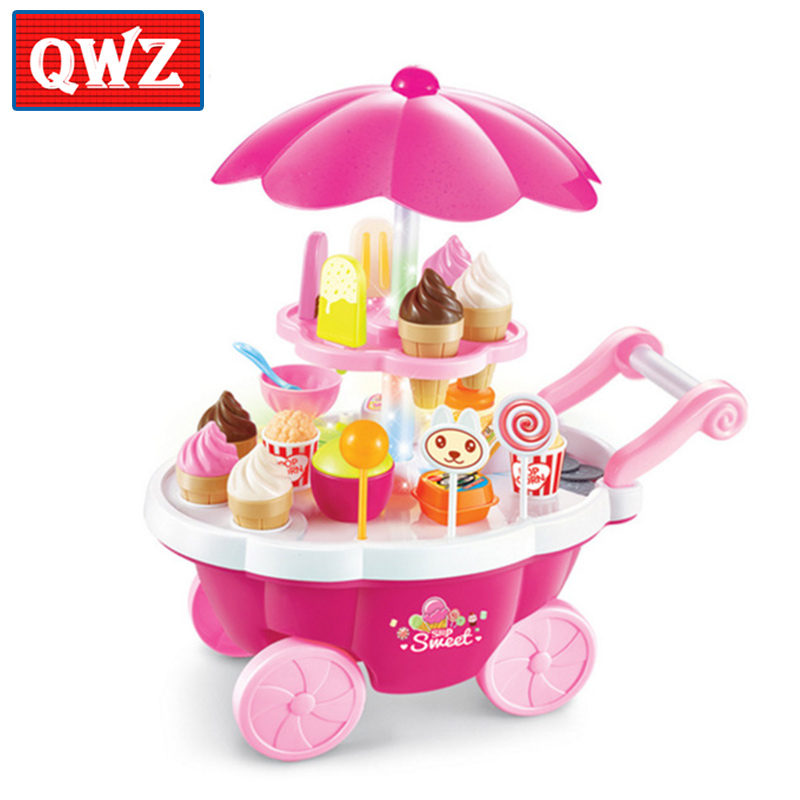 QWZ 39 Pcs Simulation Small Carts Girl Mini Candy Cart Ice Cream Shop Supermarket Children 's Toys Playing Home Baby Toys small home appliance mixer simulation play toys