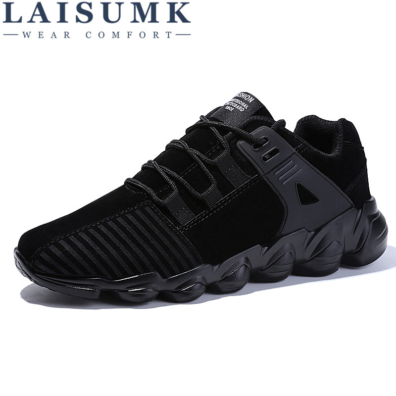 2017 LAISUMK Men Casual Shoes Autumn Lace Up Style Waterproof Suede Black Gray Yellow Fashion Man