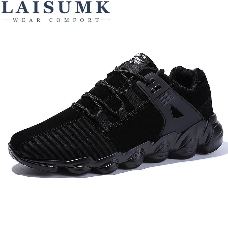 2017 LAISUMK Men Casual Shoes Autumn Lace-up Style waterproof Suede Black Gray Yellow Fashion Man Shoes 39-46