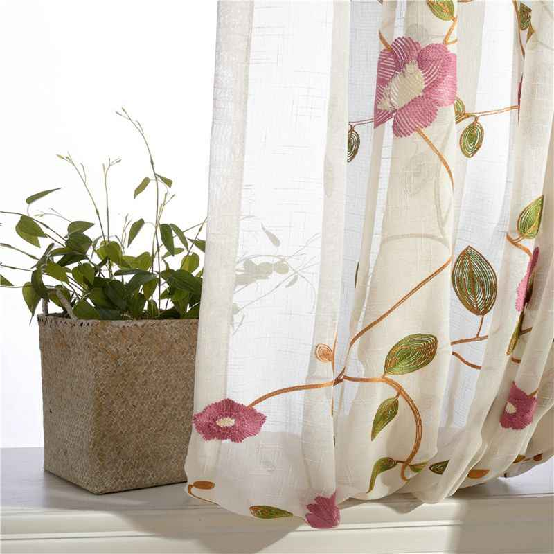 Window Tulle Curtains For Living Room Rustic Embroidered Flower Voile Sheer Window Curtain for bedroom Dinning room AP106-40