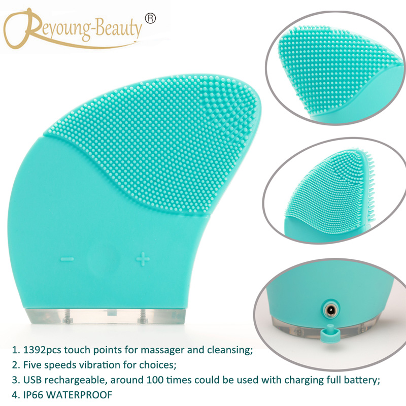 Anti Aging Wrinkle Ultrasonic Vibrating Electric Silicone Facial Pores Cleanser Makeup Pigment Blemish Cleaning Washing Brush