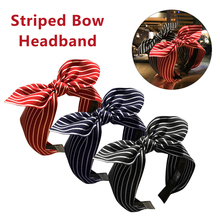2019 New Fashion Bow Hair Accesories Rabbit Ears Hairbands Striped Knot Headbands for Women Girls Head Bands