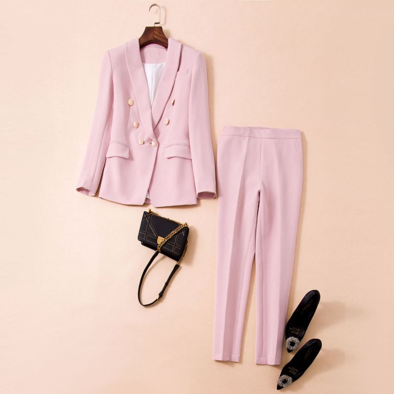 Women girls pink blazer suit double breasted gold color buttons slim sexy outerwear pants two piece set outfits 2019