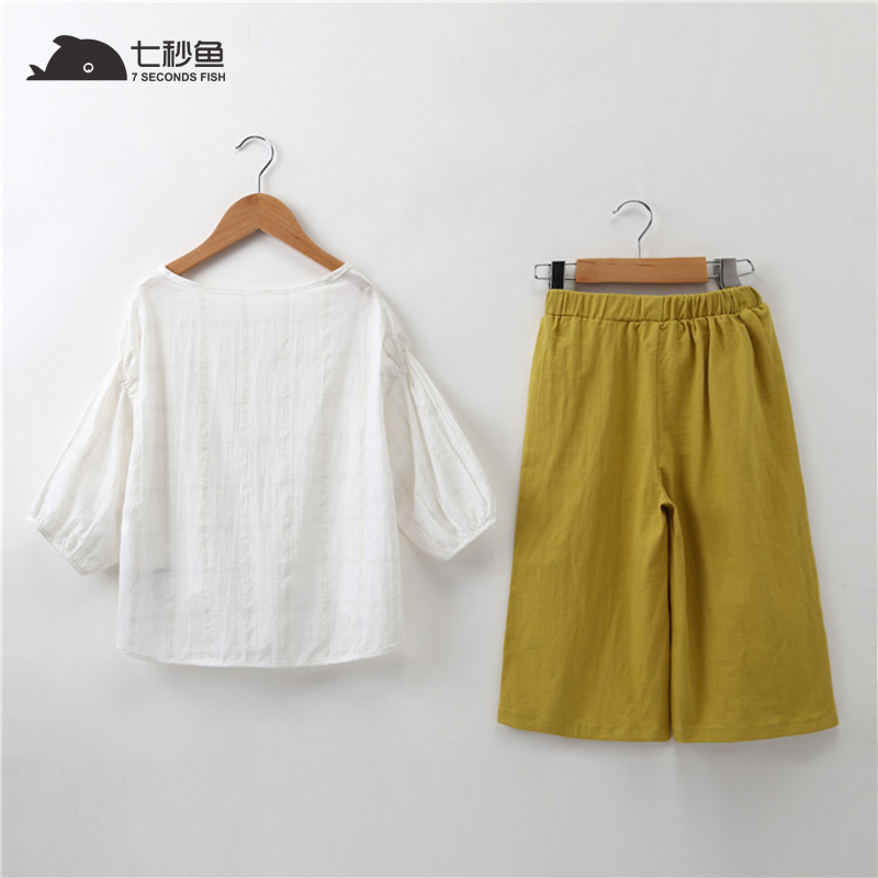 Toddler Women Summer time Clothes Summer time 2018 Child Lady Summer time Garments White Shirt +Yellow Pants 2 Items Women Outfits