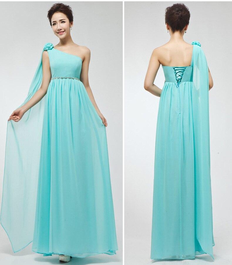 Bridesmaid Dress Turquoise Mint Green Purple Cheap One Shoulder Long Prom Plus Size 2017 vestidos de festa Dresses
