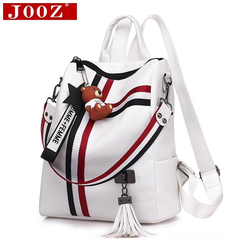 Fashion Tassel Women Leather Backpacks Striped Shoulder Strap Student School Backpack Youth Book Bag Mochila Feminina