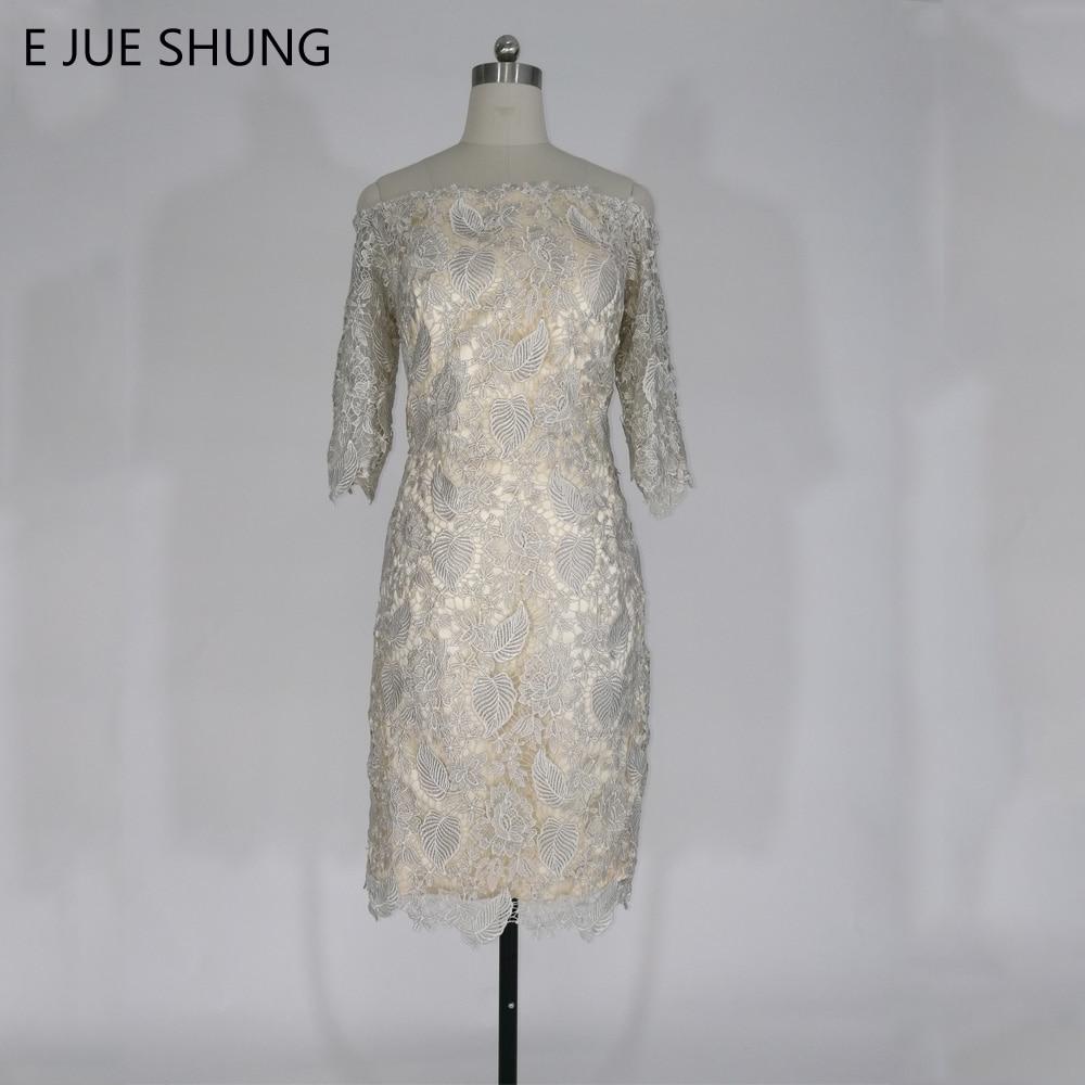 E JUE SHUNG Champagne Vintaj Lace Lutut Panjang Ibu Pakaian Pengantin 2017 Off Bahu 3/4 Lengan Pakaian Ibu