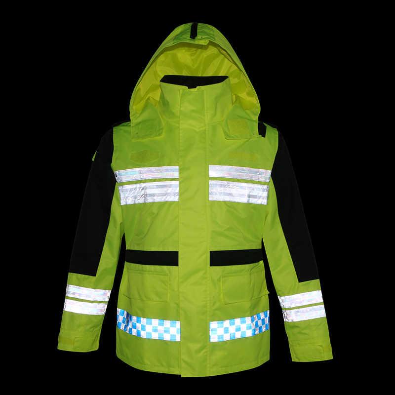 Herren Mantel Jacke Reflektierende Regenmantel Straße Verkehrs Rettungs Regenmantel Uniform Fluoreszierende Gelb Im Freien Wasserdichte Mantel FREIES SCHIFF