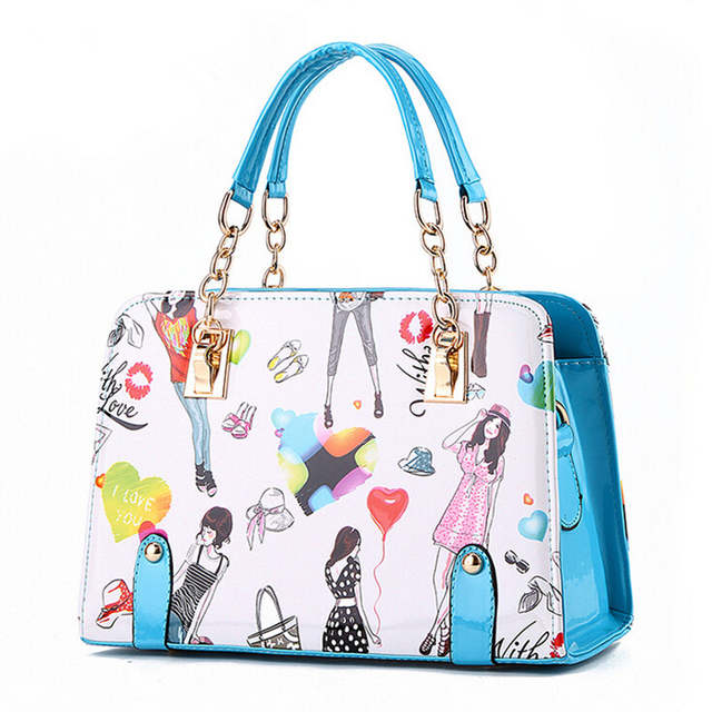Placeholder Women Handbags 2018 New Fashion Summer Chain Las Hand Bags Cartoon Printed Female Crossbody