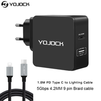 YOJOCK 45W PD Wall Charger With Power Delivery Dual 2.4A USB Charger for iPhone X 8 With PD Type C to Lighting Charging Cable