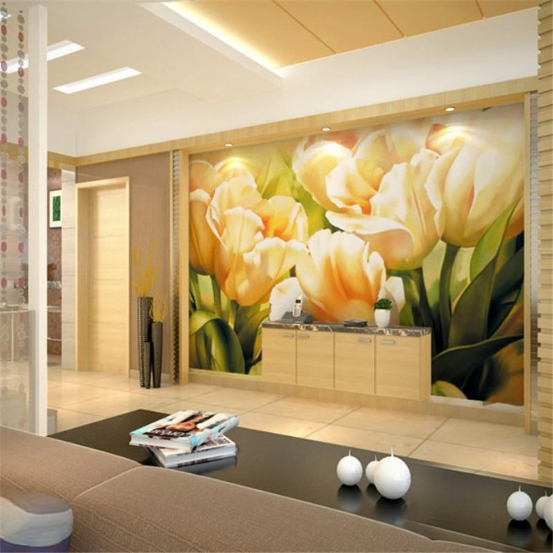Beibehang wallpaper wall paper green tulip room wall 3d tv for Murales en 3d para salas