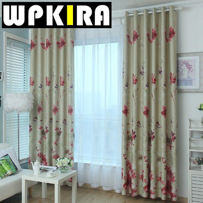 rojo estampado floral cortina de la ventana del dormitorio sala de estar cortinas cortinas de flores