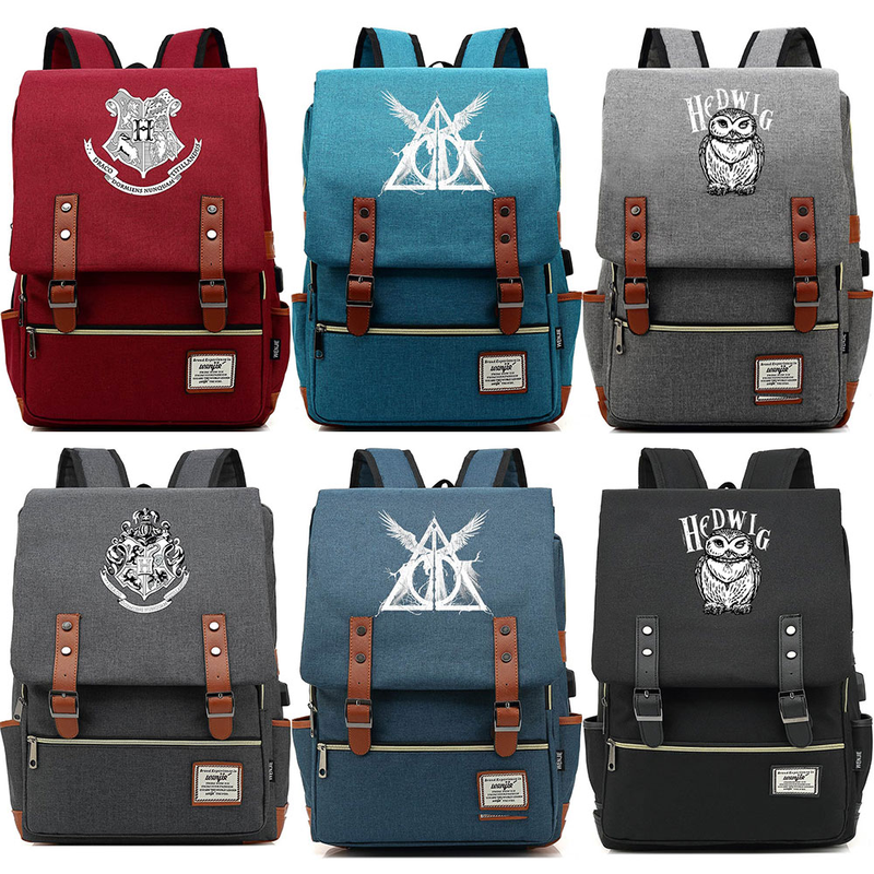 Hot Deathly Hallows Hedwig Hogwarts Slytherin Boy Girl Student School bag Teenagers Women Bagpack Men USB Belt Backpack