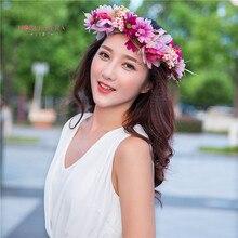 2 pcs Main Femme Filles De Fleur De Marguerite Bandeau Partie De Mariage Tissu Fleur Guirlande Cheveux turquoise Fleur Couronne Cheveux Accessoires