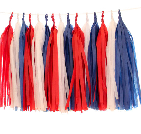 Mixed Royal Blue Red White Tissue Paper Tels 15 Per Packge Wedding Bunting Banner Birthday Party Hanging Decoration In Artificial Dried